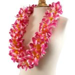 cherry pink and yellow plumeria lei